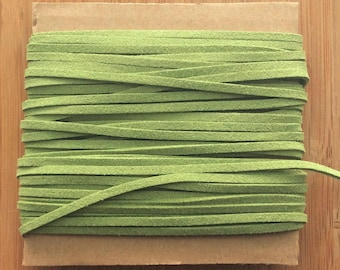 3mm Flat Faux Suede Leather Cord, DIY, Leather String Cord, The Weavers Mill, light moss green