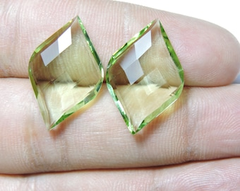 2 Pcs Extremely Beautiful Green Amethyst Quartz Faceted Fancy Spiral Shape Loose Gemstone Beads Size 25X15 MM