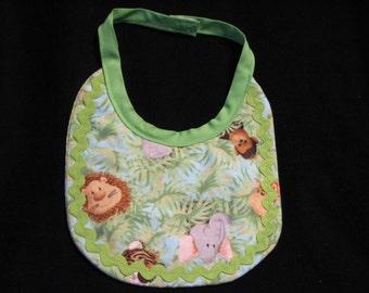 Baby Boy Reversible Jungle Animal Print Baby Bib