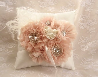 Hand Dyed Blush Ring Bearer Pillow, Blush and Cream Wedding Pillow