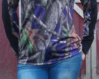 Purple Next Camo Camouflage Long Sleeve Shirt Blouse Top
