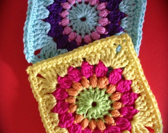 Crochet pattern sunburst granny square