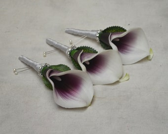 3 Plum Purple Picasso calla Lily Boutonnieres Real Touch Flowers Silk Wedding Flowers Package