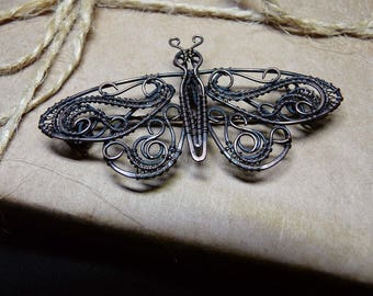 Handcrafted wire wrapped copper moth brooch Copper moth pendant Copper butterfly Handmade jewelry Wire wrapped copper jewelry Copper brooch