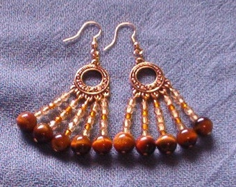 Chandelier Earrings with Round Tigereye beads and Yellow and Brown Fire Polished Crystals