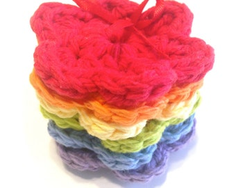 Itty Bitty Rainbow Crocheted Make-Up Removers-Set Of Six