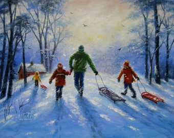 Sledding With Dad Print, three children, snow paintings, playing in snow, three kids, cabin, kids in snow, paintings, Vickie Wade art