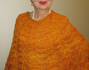 Pdf HARVEST MOON Cabled Poncho Pattern