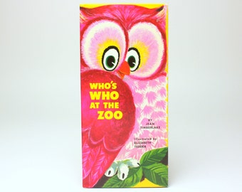 "Vintage Story Book Greetings Card ""Who's Who At the Zoo"" Hardcover Birthday Book by Jean Timberlake & Elizabeth Tedder - C.R. Gibson"