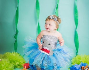 Shark Water Tutu Dress - Size Newborn 3 6 9 12 18 Months 2T 3T 4T 5 6 - Birthday Party Outfit - Toddler Little Girls Halloween Costume Sc 1 St Etsy  sc 1 st  Germanpascual.Com : baby shark halloween costumes  - Germanpascual.Com