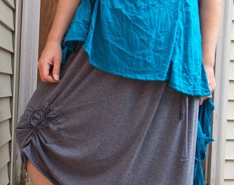 Blossom Wrinkle Top Scarf Set Sz. L/XL Large Womens Handmade Clothing Summer Layering Teal