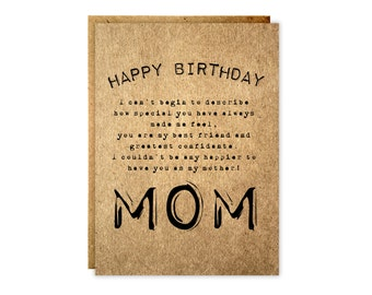 Rustic mom birthday card - Rustic blank card - Kraft Mother's day card - Mother's day - Paper goods - Kraft - Kraft Birthday