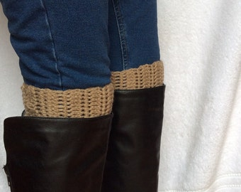 On SALE Now, Best Selling, Crochet Boot Cuffs in Brown/Tan