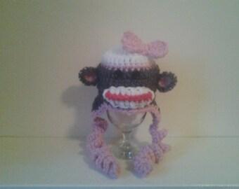 girl monkey hat, crochet monkey hat, photo prop girl hat, baby girl hat ,newborn girl hat, newborn monkey hat
