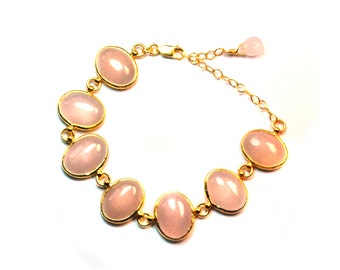 Pink Quartz Oval Stones Bracelet