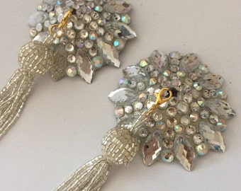 Silver tone pasties with crystal AB on silver base with silver removable beaded tassel