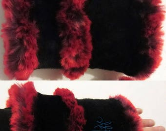 wrist warmers red plum and black faux fur, winter arm warmers