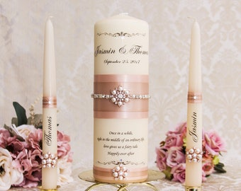 Blush  Unity Candle Set, Blush Wedding Unity Candles, Rose Gold Wedding Candles, Personalized Wedding Candles, Bling Wedding Candles