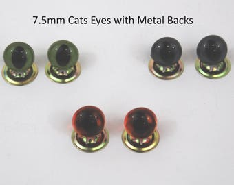 7.5mm Cats Safety Crystal Eyes with Metal Backs for Teddy Bear/Animal Soft Toy Making