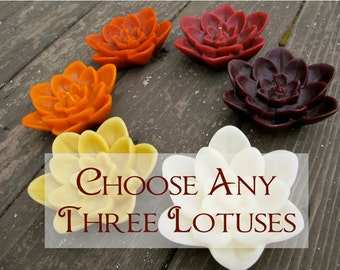 Choose any Three Floating Beeswax Lotus Flower Candles