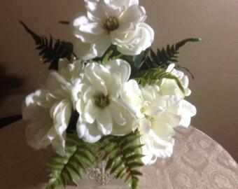 Faux Silk white magnolia in decorative tin container