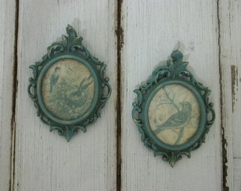 Shabby Chic French Country Small Ornate Metal Frames with Birds Wall Hanging
