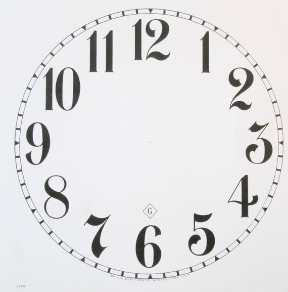10 3/4 Inch Heavy Paper Reproduction Gilbert Clock Dial for your Antique / Vintage / New  Clock Projects - Art Projects - Steampunk Art