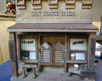 Vintage 1970s Last Chance Saloon 3D Wooden Diorama Wall Hanging Shadow Box