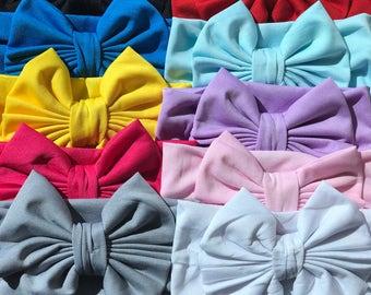 Baby Head Wraps, Set of 10 Messy Bow Headbands,  Big Wide Bow Turban Headbands, Baby Toddler Girls Headbands, Big Bow Headbands