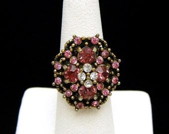 Vintage Hollycraft Adjustable Rhinestone Ring Pink Clear Gold Tone