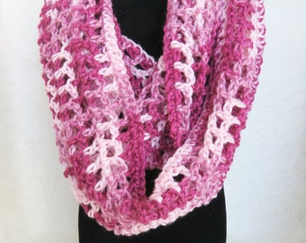Close-out scarf sale! Hand-Crocheted, Infinity, Fashion Accessory, Neck Scarf, Shades of Rose  Under 20 Dollars