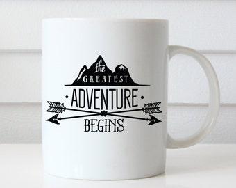 The Greatest Adventure Begins, Adventure Mug, Wedding Gift, Wedding Shower Gift, Bride Gift, Husband Gift, Graduation Gift, Gift For Grads