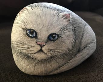 Hand Painted White Long Haired Cat on River Stone / Paper Weight / Garden Art / Animal Art