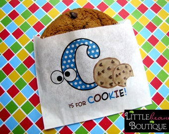 Custom Cookie bags, C is for cookie, Googley eyes, cookie favor bags, Chocolate chip cookie bags,cookie favors,Birthday party,Sweets, Treats