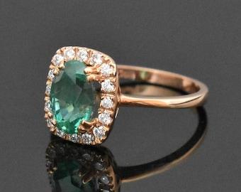 18K Rose Gold Emerald & Diamond Ring | Engagement Ring | Wedding Ring | Rose Gold Engagement Ring | Handmade Fine Jewelry | Diamond Halo