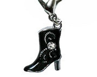 Black Rhinestone Cowgirl Boot Charm - Clip-On - Ready to Wear