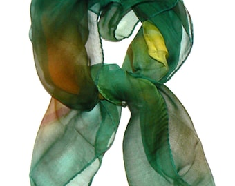 SALE Mutilcolor Silk Scarf Hand Painted