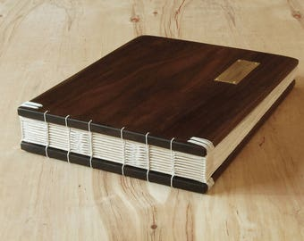 wood wedding or cabin guest book black walnut - custom wedding gift - vacation home guestbook - rustic fall wedding  - made to order