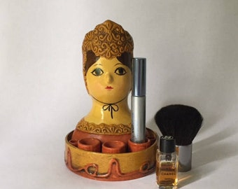 mod vintage papier mache woman lipstick make up caddy, modern flower power boho fashion, Gemma Taccogna style groovy vanity decor, girl gift