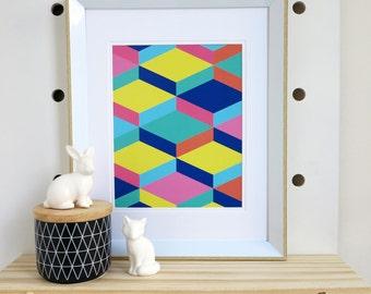 Colourful Geometric Art Print