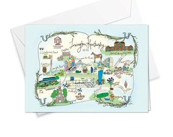 Lexington, Kentucky Decorative Map Card