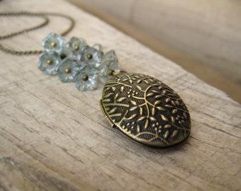 Antique blue czech glass bouquet locket necklace in Brass, long necklace