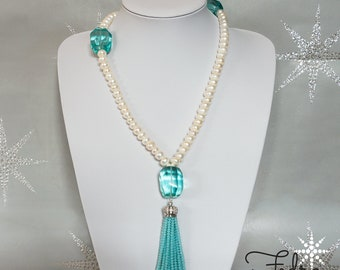 Button shape pearls and tumbled glass beads with faceted calcedony tassel
