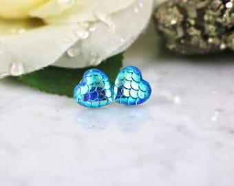 Mermaid Heart Studs - Mermaid Earrings - Dragon Studs - Blue Earrings - Stud Earrings - Button Earrings - Mermaid Tail - Dragon Scales