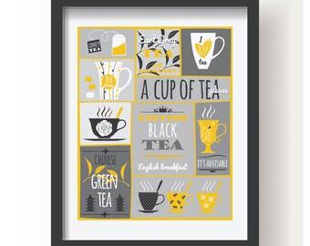 Yellow White Gray Tea Poster, Kitchen poster, Kitchen Decor, Kitchen Tea print, Tea wall art, Kitchen wall art, Tea decoration, Modern Tea