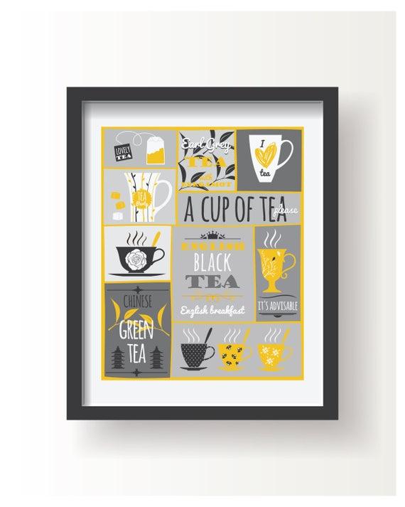 Gelb weiß grau Tee Poster Plakat Küche Küche Dekor Küche