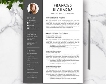 Resume Template Word, Professional CV Resume, Cover Letter, Creative CV, Modern Resume, Teacher Resume Design, Instant Download, FRANCES