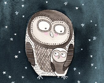 Mama and Baby Owl Starry Night print with mat