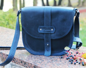 Leather Saddle bag- Waxed leather crossbody bag -Navy Blue leather crossbody bag -Tablet bag- Gift for Her- Free Personalization