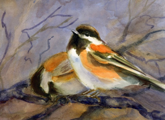 Chestnut-backed Chickadee -- a signed print or note cards of a watercolor painting done by Bonnie White - songbirds - bird art